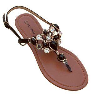 COPY - Black Gemstone Thong Sandal